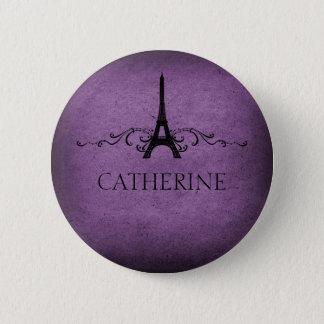 Vintage French Flourish Button, Purple Pinback Button