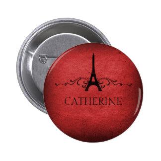 Vintage French Flourish Button, Red Pinback Button