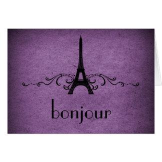 Vintage French Flourish Card, Purple Greeting Card