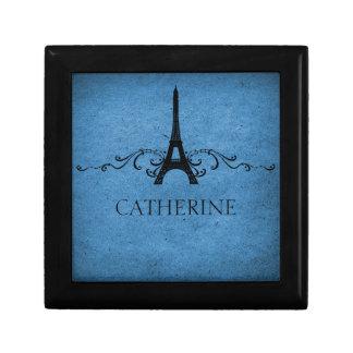 Vintage French Flourish Gift Box, Blue Keepsake Box