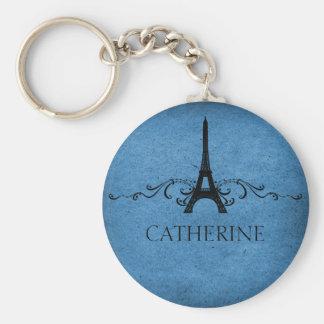 Vintage French Flourish Keychain, Blue Basic Round Button Keychain