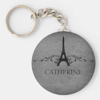 Vintage French Flourish Keychain, Gray Basic Round Button Keychain