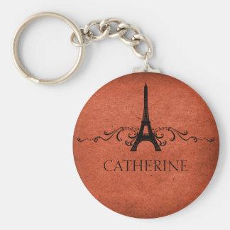 Vintage French Flourish Keychain, Orange Basic Round Button Keychain