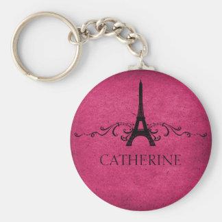 Vintage French Flourish Keychain, Pink Basic Round Button Keychain