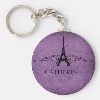 Vintage French Flourish Keychain, Purple Keychain