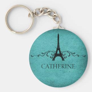 Vintage French Flourish Keychain, Teal Keychain
