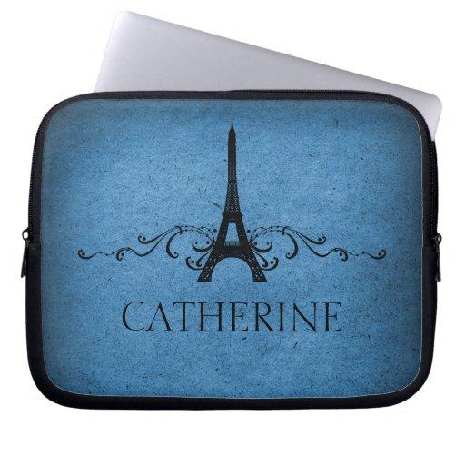 Vintage French Flourish Laptop Sleeve, Blue