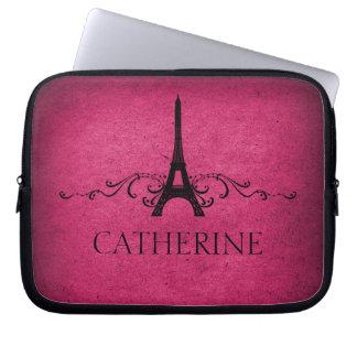 Vintage French Flourish Laptop Sleeve, Pink Laptop Computer Sleeves