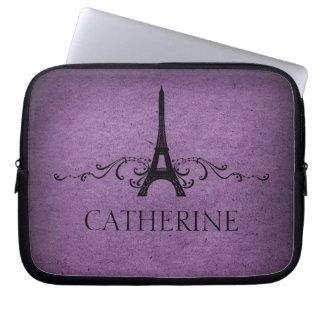 Vintage French Flourish Laptop Sleeve, Purple Computer Sleeve