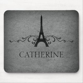 Vintage French Flourish Mousepad, Gray Mouse Pad