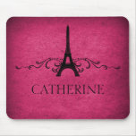 Vintage French Flourish Mousepad, Pink Mouse Pad