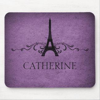 Vintage French Flourish Mousepad, Purple