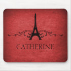 Vintage French Flourish Mousepad, Red Mouse Pad
