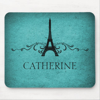 Vintage French Flourish Mousepad, Teal