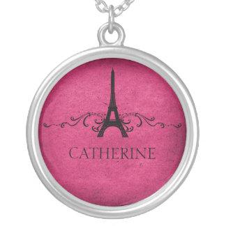 Vintage French Flourish Necklace, Pink Round Pendant Necklace