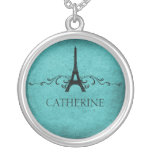 Vintage French Flourish Necklace, Teal Round Pendant Necklace