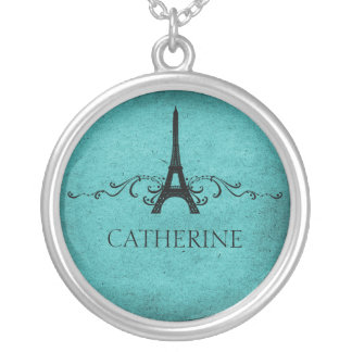Vintage French Flourish Necklace, Teal Silver Plated Necklace