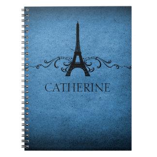 Vintage French Flourish Notebook, Blue Spiral Notebook