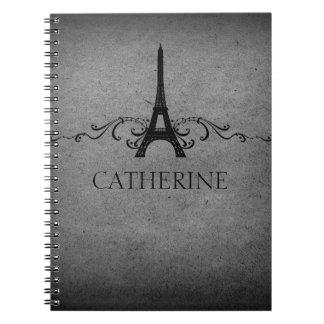 Vintage French Flourish Notebook, Gray Spiral Notebook