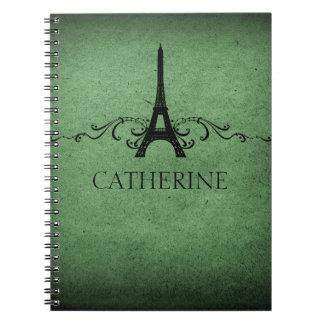 Vintage French Flourish Notebook, Green Notebook