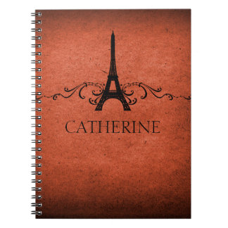 Vintage French Flourish Notebook, Orange Notebook