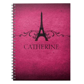 Vintage French Flourish Notebook, Pink Spiral Notebooks