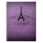 Vintage French Flourish Notebook, Purple