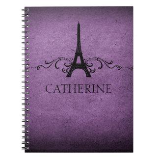 Vintage French Flourish Notebook, Purple Spiral Notebook