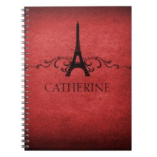 Vintage French Flourish Notebook, Red Spiral Notebook