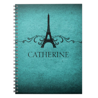 Vintage French Flourish Notebook, Teal Notebook
