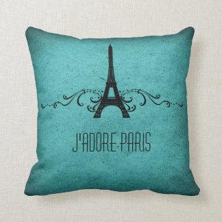 Vintage French Flourish Pillow, Aqua Pillow
