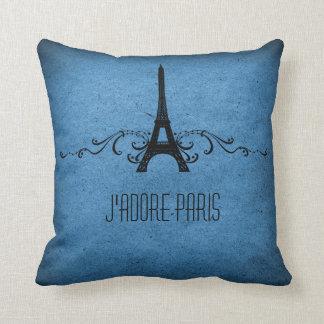 Vintage French Flourish Pillow, Blue Throw Pillow