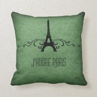 Vintage French Flourish Pillow, Green Throw Pillow