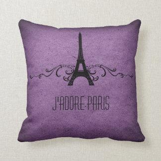Vintage French Flourish Pillow, Purple Pillow