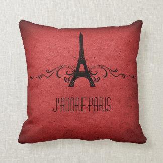 Vintage French Flourish Pillow, Red Throw Pillow