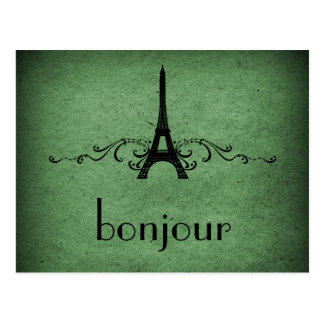 Vintage French Flourish Postcard, Green Postcard