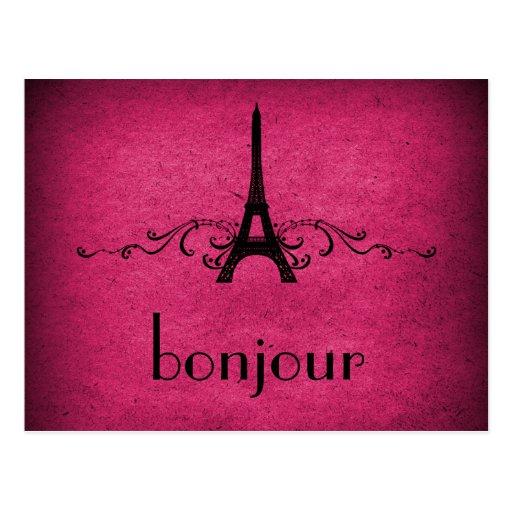 Vintage French Flourish Postcard, Pink