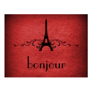 Vintage French Flourish Postcard, Red Postcard