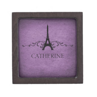 Vintage French Flourish Premium Gift Box, Purple Keepsake Box