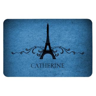 Vintage French Flourish Premium Magnet, Blue Rectangular Photo Magnet