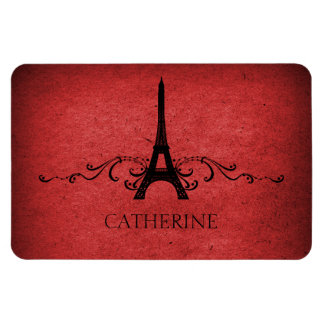Vintage French Flourish Premium Magnet, Red Magnet