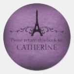 Vintage French Flourish Stickers, Purple