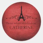 Vintage French Flourish Stickers, Red Classic Round Sticker