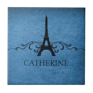 Vintage French Flourish Tile, Blue Tile