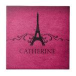 Vintage French Flourish Tile, Pink Tile
