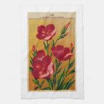 Vintage French Flower Garden Seed Label Towel
