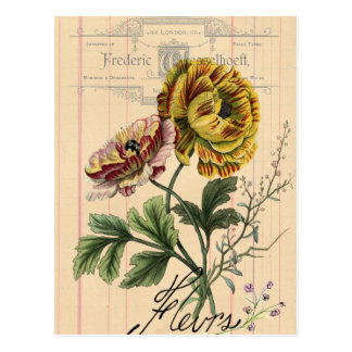 Vintage French Flowers Digital Collage Postcard