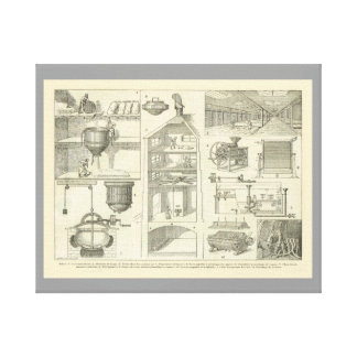 Vintage French Food How beer is made Stretched Canvas Prints