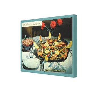 Vintage French Food, La Paella Espagnole Canvas Print