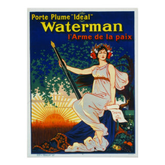 Vintage French Fountain Pen Advertisement 1919 Poster